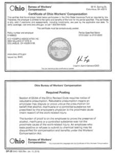 Bureau of Workers' Compensation certificate